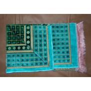 Tapis de priere velours - Turquoise, vert -